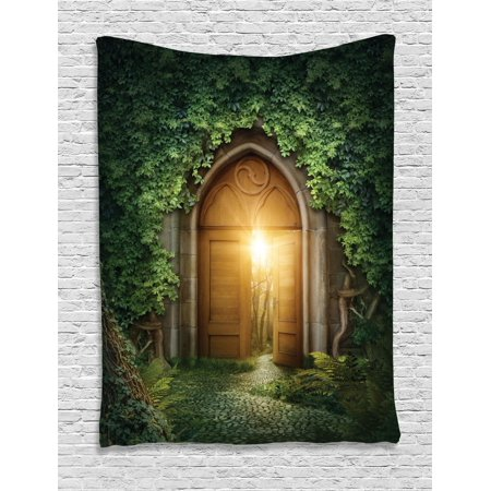 Fantasy Tapestry, Sunbeams Through the Mysterious Half Opened Wooden Entrance With Greenery, Wall Hanging for Bedroom Living Room Dorm Decor, Green and Brown, by Ambesonne ()