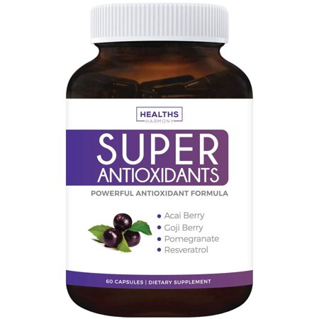 Healths Harmony Super Antioxidant Supplement | Powerful Super Food Antioxidants Blend | Acai Berry, Goji Berry, Pomegranate & Trans Resveratrol | Natural Herbal & Fruit Formula | 60
