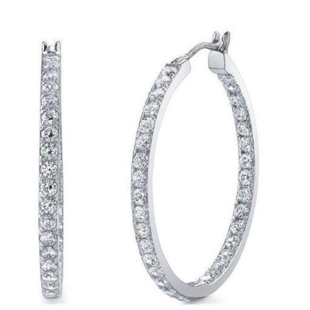Harry Chad Enterprises 53487 14K White Gold Round Cut Sparkling 4.10 Carats Diamonds Hoop Earrings - image 1 of 1