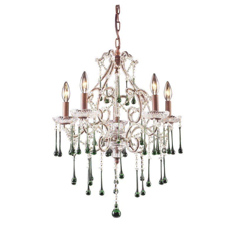 Elk Lighting Opulence 5 Light Chandelier in Rust and Lime Crystal