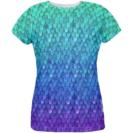 Halloween Shirts Womens (Halloween Mermaid Scales Costume All Over Womens T)