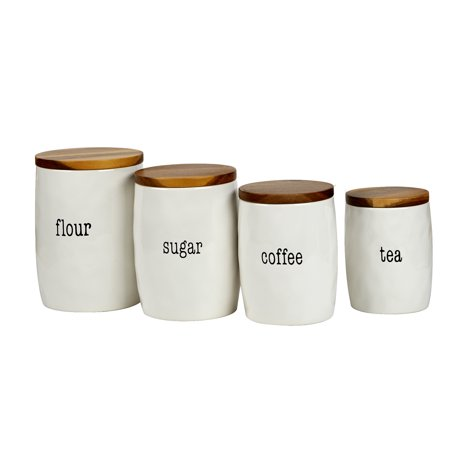 It's Just Words 4pc Canister Set with Wood Lids (Lidded Wood)