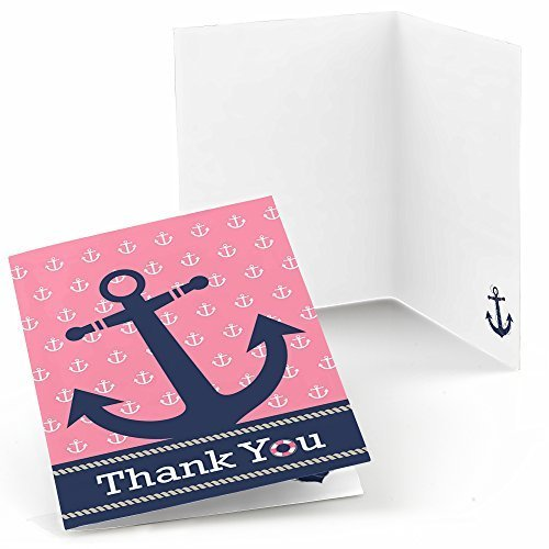 Ahoy - Nautical Girl - Baby Shower or Birthday Party Thank You Cards (8 count)