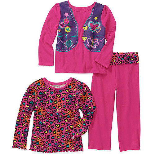 Garanimals Baby Girls 3 Piece Graphic Tees and Yoga Pant Set
