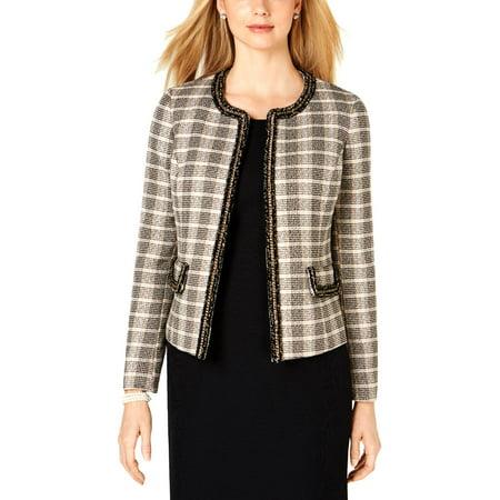 Kasper Womens Plaid Business Tweed Jacket Tan 12