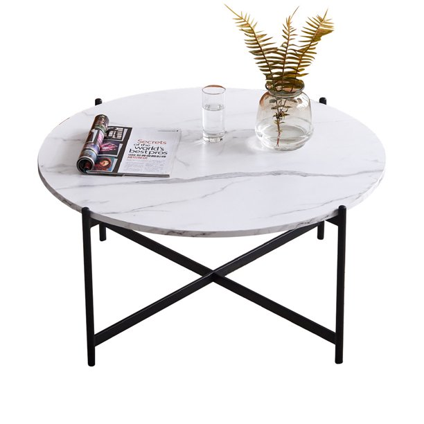 36 Inches Large Round Coffee Table Marble Grain And Black Modern Wood Cocktail Table Easy To Assemble Walmart Com Walmart Com