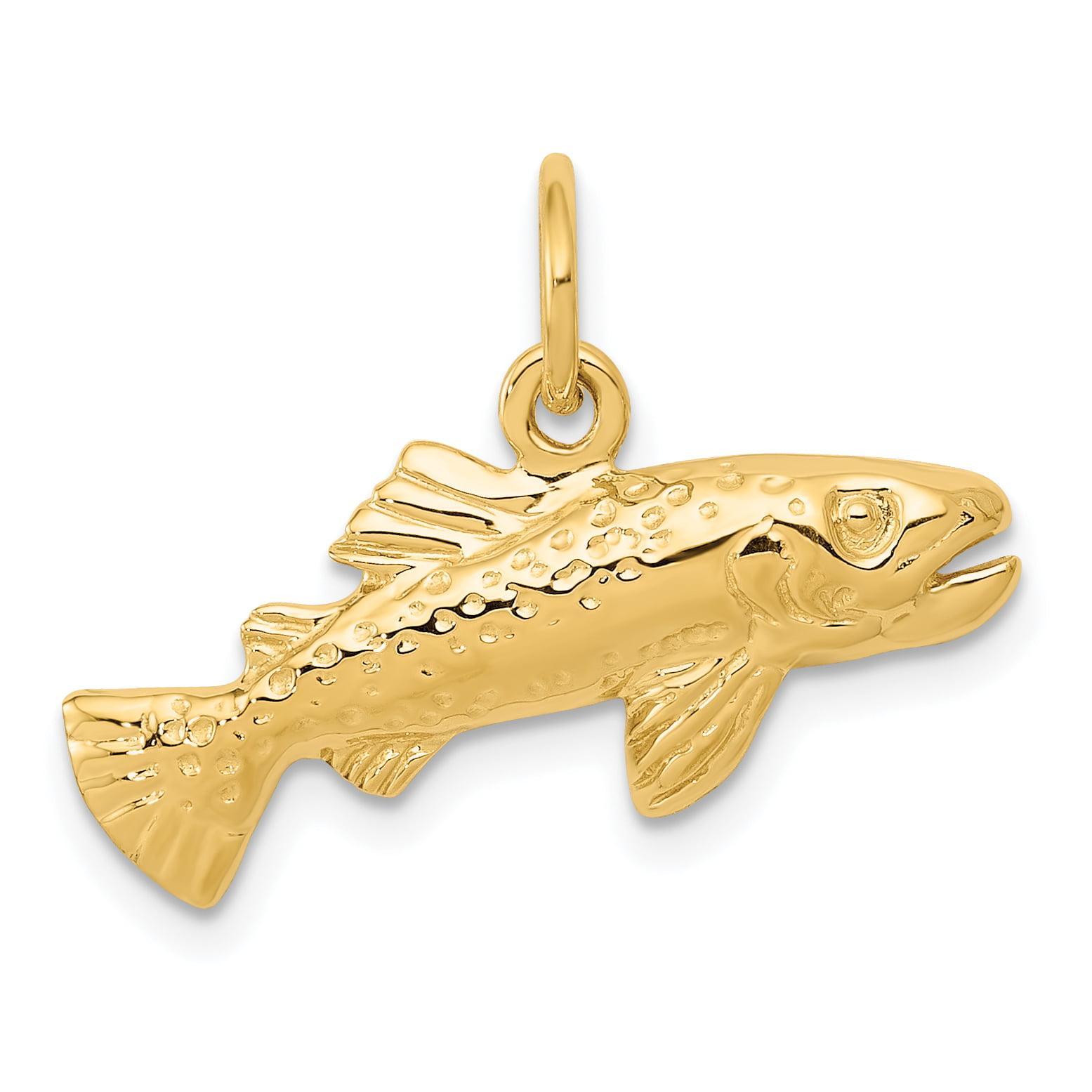 14k 14kt Yellow Gold Diamond Cut Sea Life Pendant