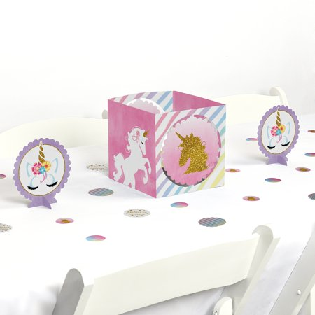 rainbow unicorn - magical unicorn baby shower or birthday party centerpiece & table decoration kit (Blue And Gold Centerpiece Ideas)
