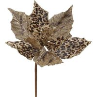Vickerman P140572 Tiger Pick Poinsettia Spray with 8.5 in. Flower - 8 in.