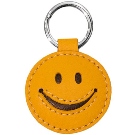 Leather 3D Happy Face Smiley Key Fob Ring Keychain