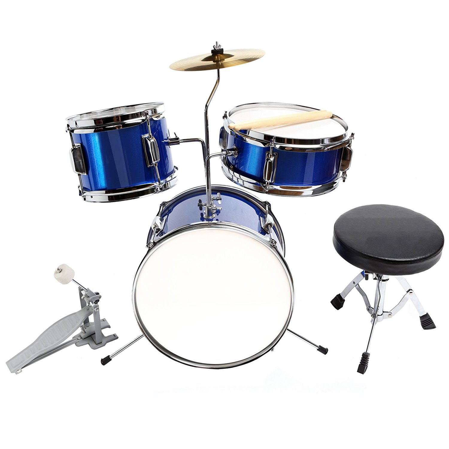 "13"" 3 Piece Complete Junior Drum Set Cymbal Child Kids Kit w  Stool Sticks Blue by Uenjoy"