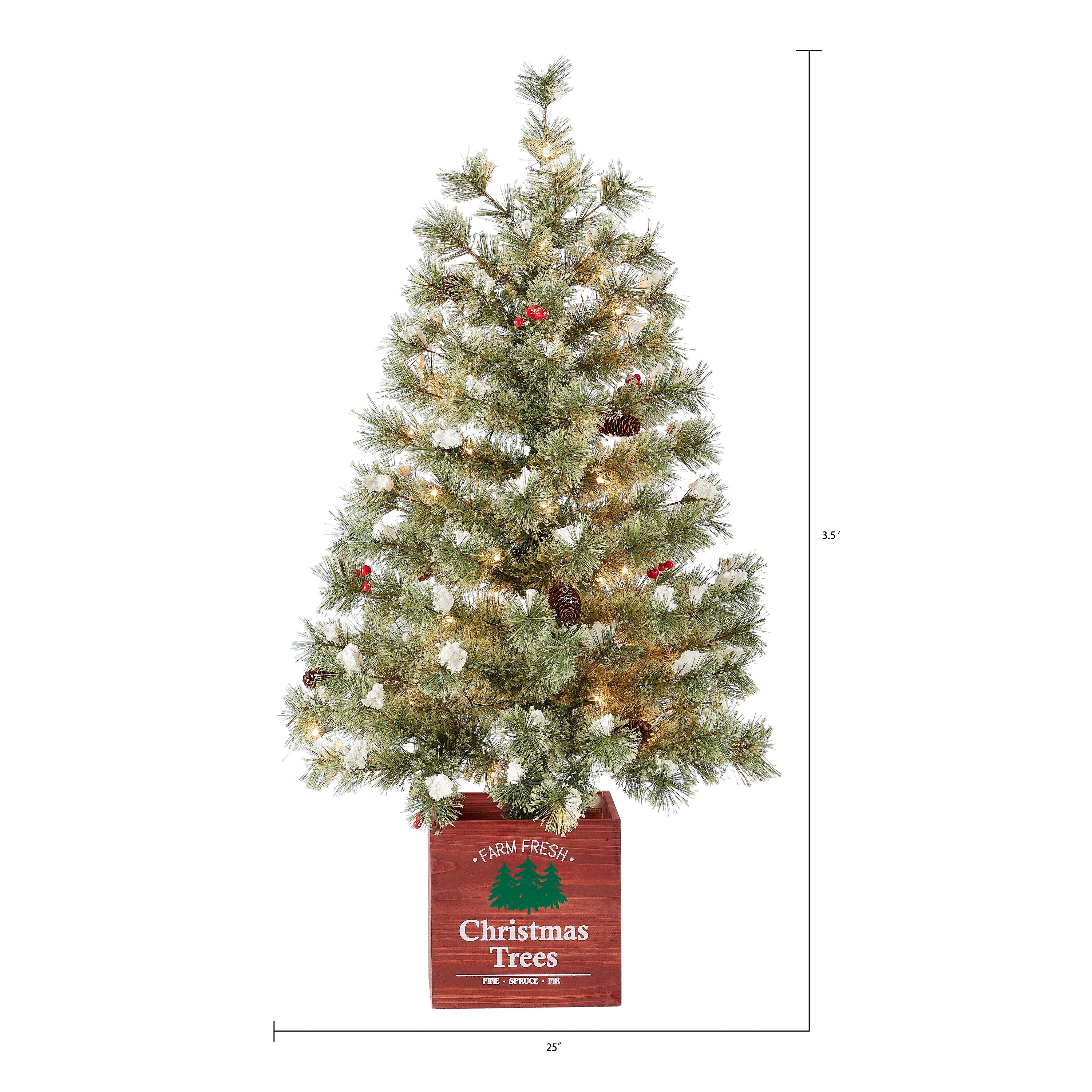 Holiday Time Pre Lit Incandescent Clear Porch In Wood Pot White Lights Christmas Tree 11 02 Green White Walmart Com Walmart Com