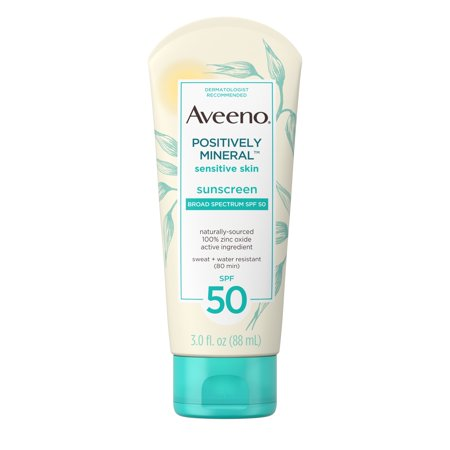 Mineral Sunblock (Aveeno Positively Mineral Sensitive Sunscreen Lotion SPF 50, 3 fl. oz )