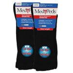 Medipeds Coolmax Cotton Half Cushion Wide Crew Socks 2 Pair, Black, M9-12.5