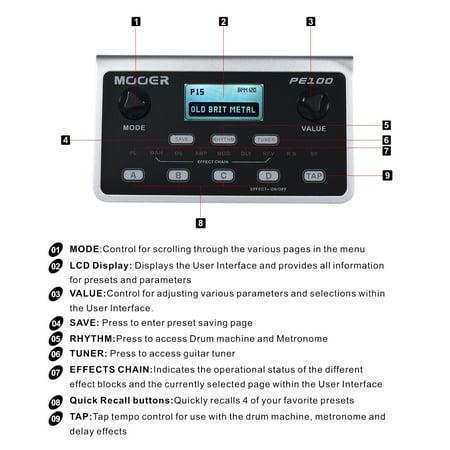 MOOER PE100 Portable Multi-effects Processor Guitar Effect Pedal 39 Effects 40 Drum Patterns 10 Metronomes Tap Tempo - image 2 de 7