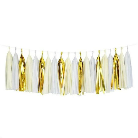 White Ivory Mylar Gold Tassel Garland Banner Party Decoration Wedding Paper Garland