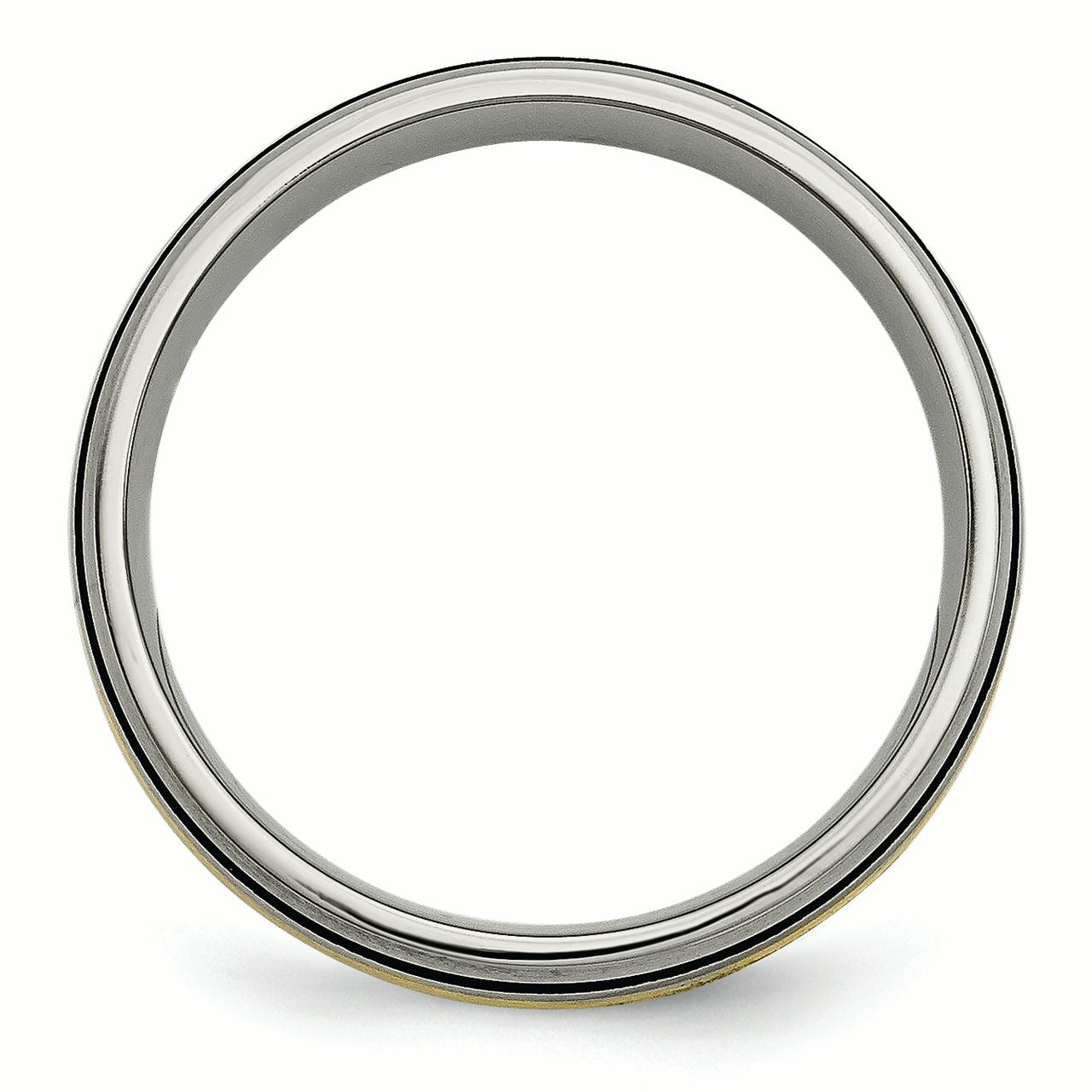 Titanium Grooved 14k Yellow Inlay 6mm Brushed Wedding Ring Band Size 11.50 Precious Metal Fine Jewelry Gifts For Women For Her - image 4 of 6