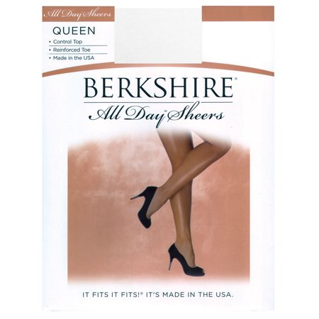 (Berkshire Women's Plus-Size Queen All Day Sheer Control Top Pantyhose - Reinforced Toe, White, 5X-6X)