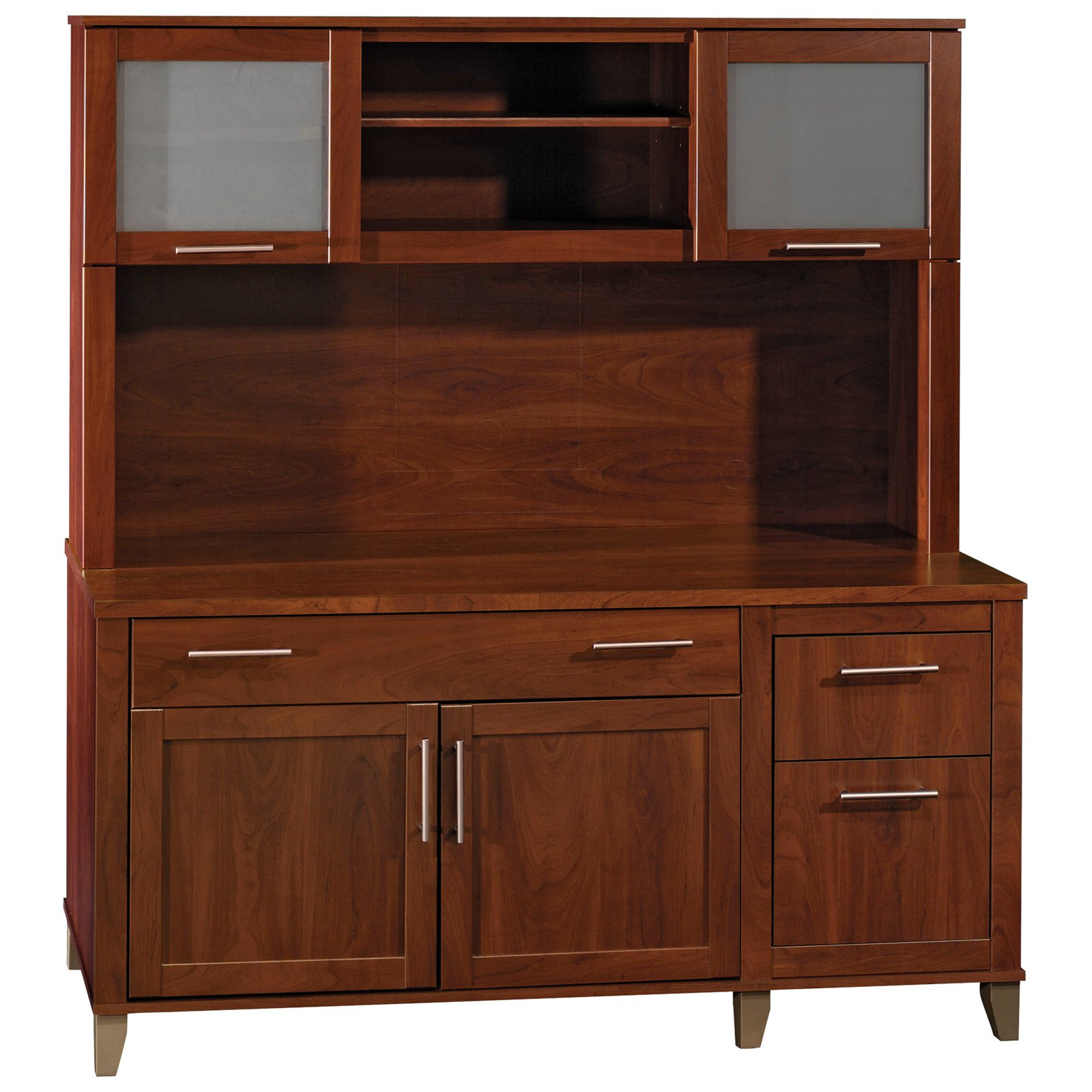 Bush Somerset Credenza Computer Desk and Hutch Hansen Cherry by Bush Industries Inc