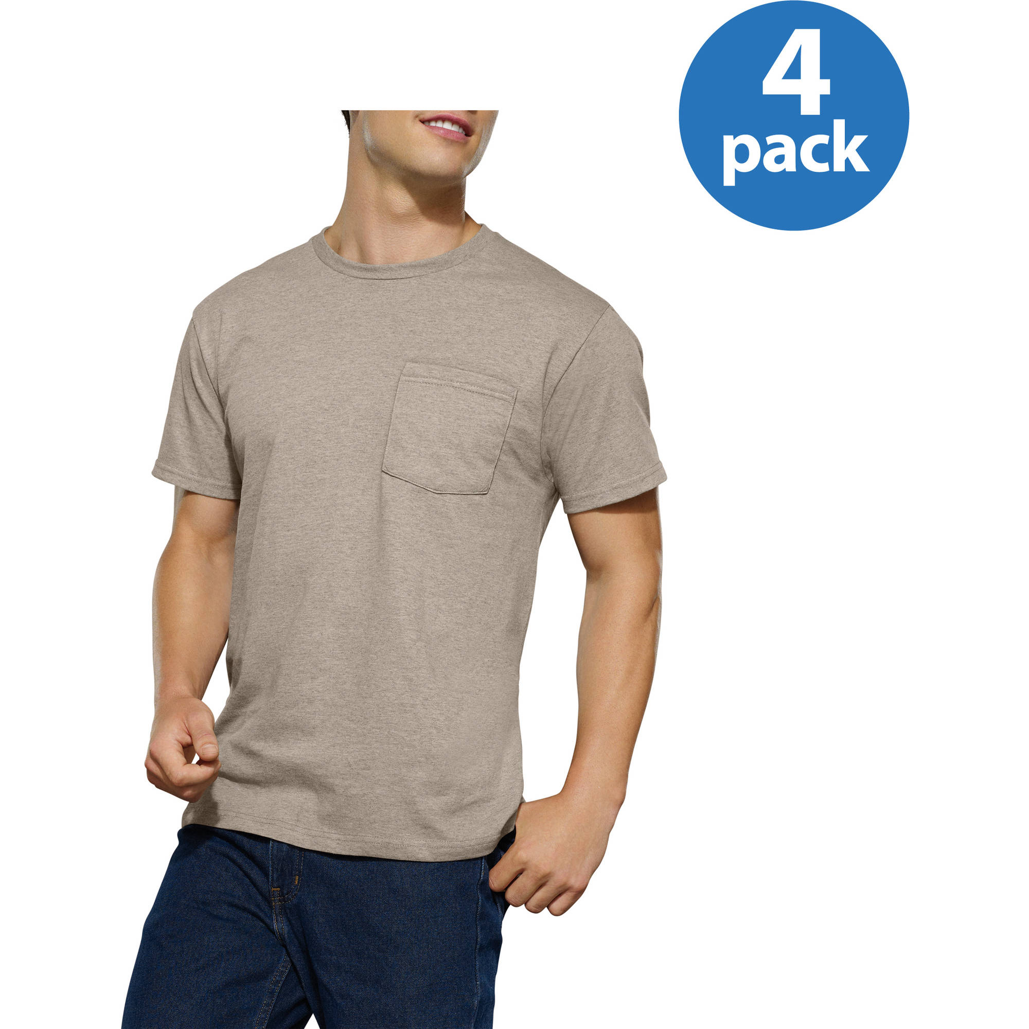Fruit of the Loom Men's Assorted Color Pocket T-Shirt, 4-Pack