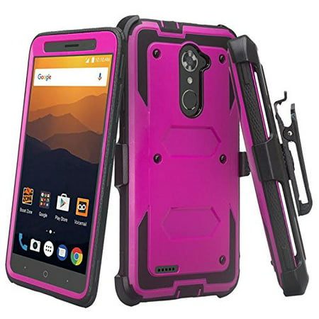 ZTE Max Blue 4G LTE, ZTE Max XL Case Case, [Shock Proof] Heavy Duty Belt Clip Holster, Full Body Coverage with Built In Screen Protector / Rugged Dual Layer Protection -