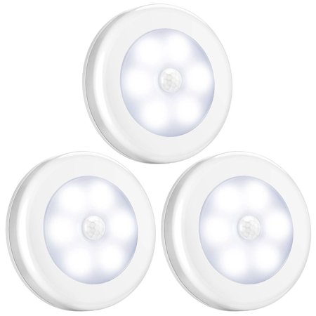 3-pack Motion Sensor Light, Cordless Battery-Powered LED Night Light, Stick Anywhere Closet Lights Stair Lights, Safe Lights for Hallway, Bathroom, Bedroom, Kitchen