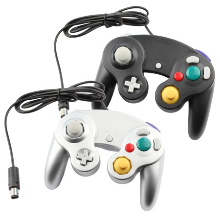 Metal Gamecube Pad - Lot of 2 Replacement Gaming Pad Controller For Nintendo GameCube Console Systems  Wired - BLACK & GREY