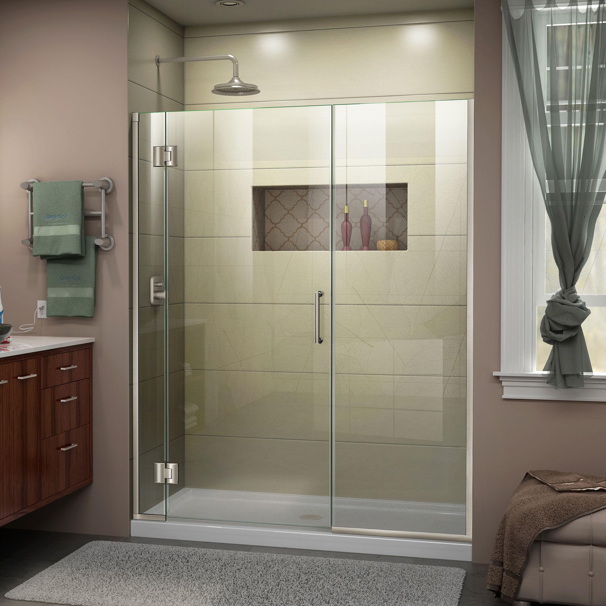 DreamLine Unidoor-X 44-44 1/2 in. W x 72 in. H Frameless Hinged Shower Door in Brushed Nickel