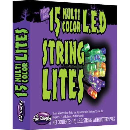 Fun World 15 LED Lights Halloween String Lights LED Decoration, 7 FT - Halloween Fun Packet