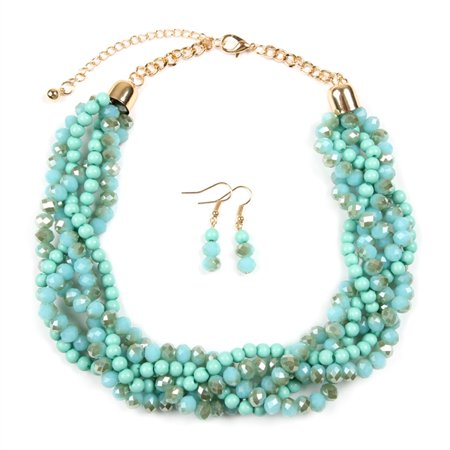 Riah Fashion Braided Chunky Cluster Bead Bubble Statement Necklace Set