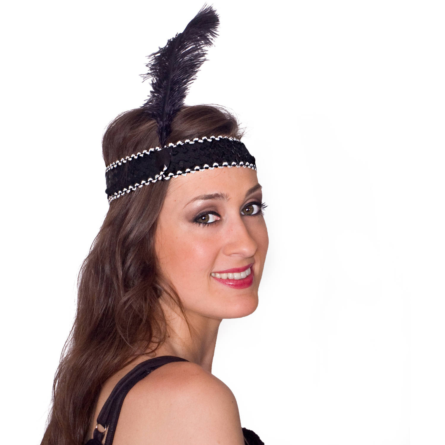 Sunnywood Silver and Black Flapper Headpiece