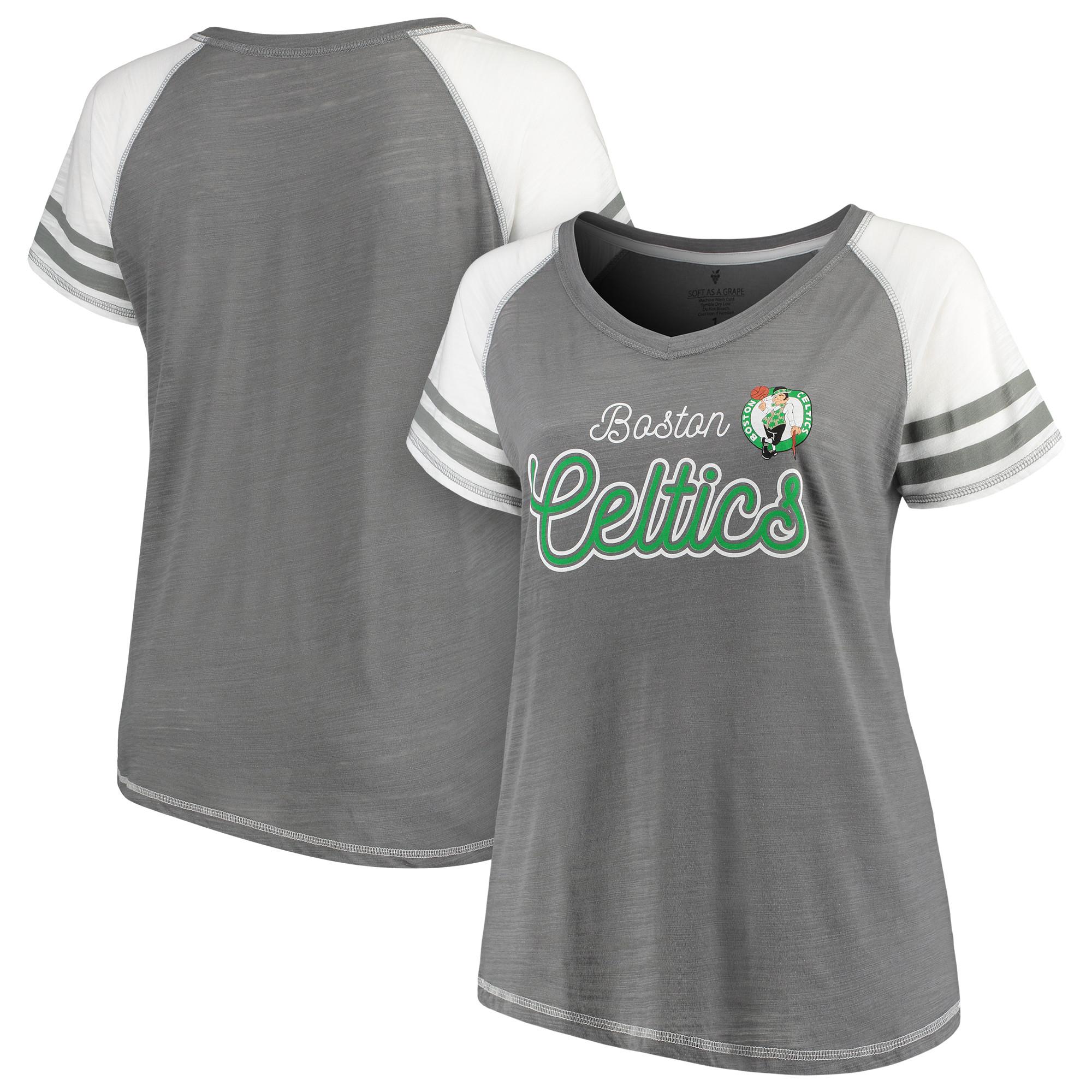 Boston Celtics Soft as a Grape Women's Plus Size Multi-Count Sleeve Stripe Raglan Tri-Blend V-Neck T-Shirt - Charcoal