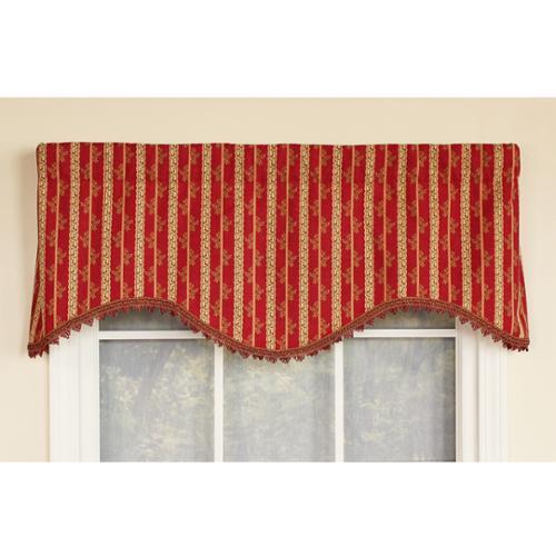 Ellington Stripe Cornice Window Valance Red