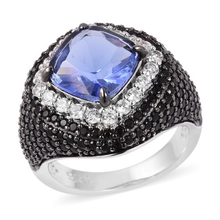 Womens Blue Glass White Cubic Zirconia CZ Statement Ring for Women Jewelry Gift Size 6 Cttw 6.4