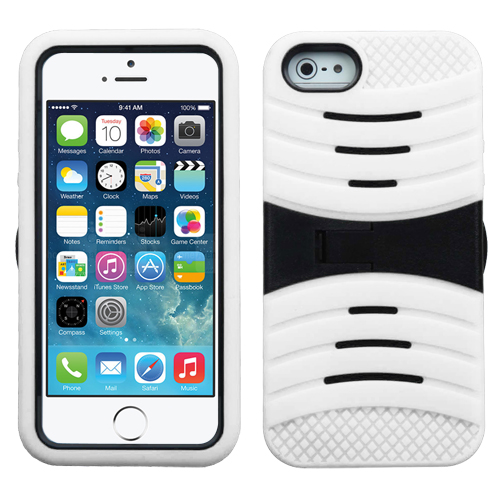 For iPhone 5s/5 Black/White Wave Symbiosis Protector Cover (with Stand)