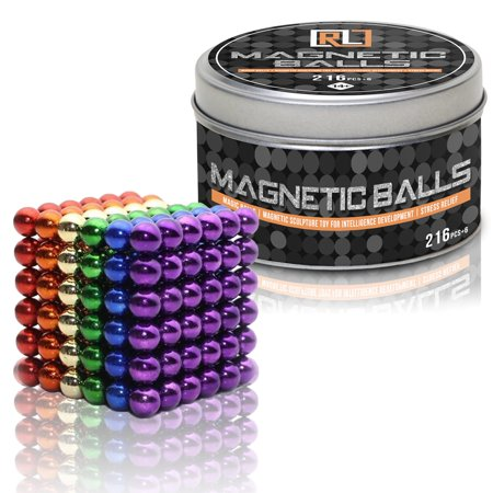 R&L Magnetic Balls Desk Toys,216 + 6, 5MM Magnets Sculpture Building Blocks Buckyballs for Intelligence, Stress Relief & Gift for Adults, Children and Christmas (Multi-color)