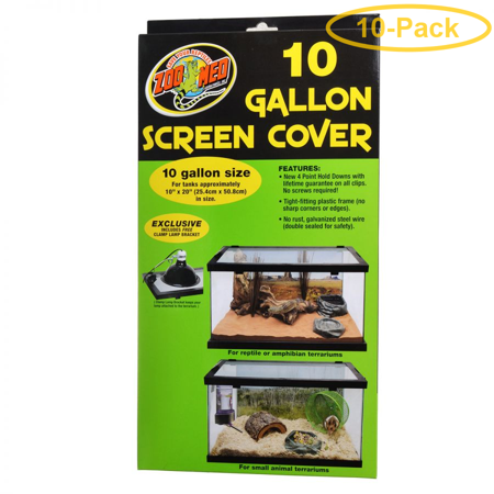 Zoo Med Animal Habitat 10 Gallon Screen Cover 20 Long x 10 Wide - Pack of 10 ()