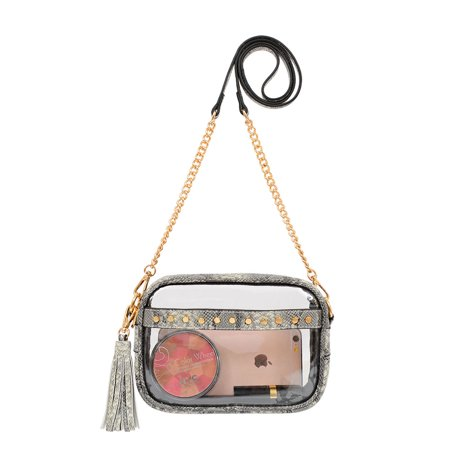 ToGoGo Women Small Clear Crossbody bag Stadium Approved Transparent Crossbody with Front Slip Pocket Front Slip Pocket