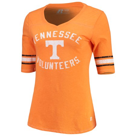 Women's Russell Athletic Tennessee Orange Tennessee Volunteers Fan Half-Sleeve V-Neck T-Shirt Tennessee Volunteers Womens Short