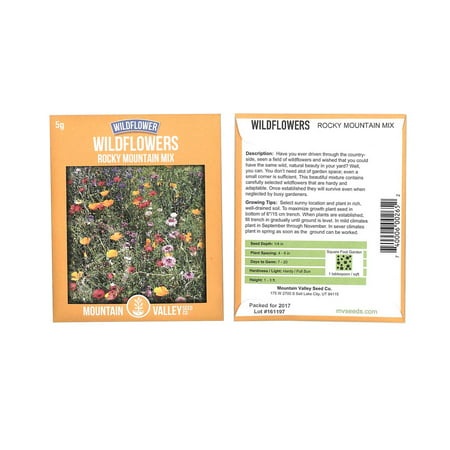 Rocky Mountain Wildflower Seed Mix - 5 Gram Packet - 22 Wild Flower Seed Varieties - Annuals, Perennials and Bi-Annuals - Flower -