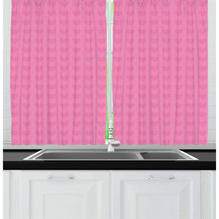 Pink Curtains 2 Panels Set, Small Heart Shapes Valentines Day Love and Feelings Concept Pattern for Romantic Couples, Window Drapes for Living Room Bedroom, 55W X 39L Inches, Pink, by