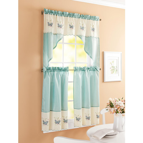 Better Homes And Garden Embroidered Butterfly Window Kitchen Curtains, Set  Of 2, Aqua