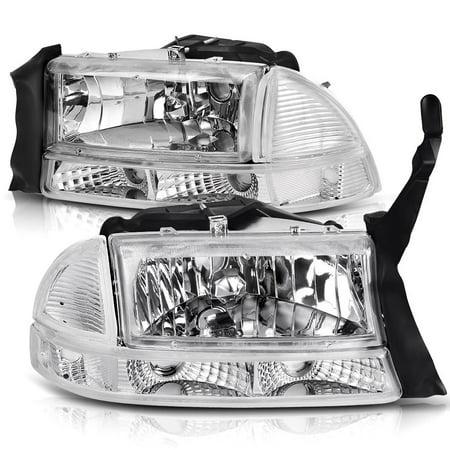 For 1997-2004 Dodge Dakota 1998-2003 Dodge Durango Headlight Assembly Headlamp Replacement with Park Signal Lamp