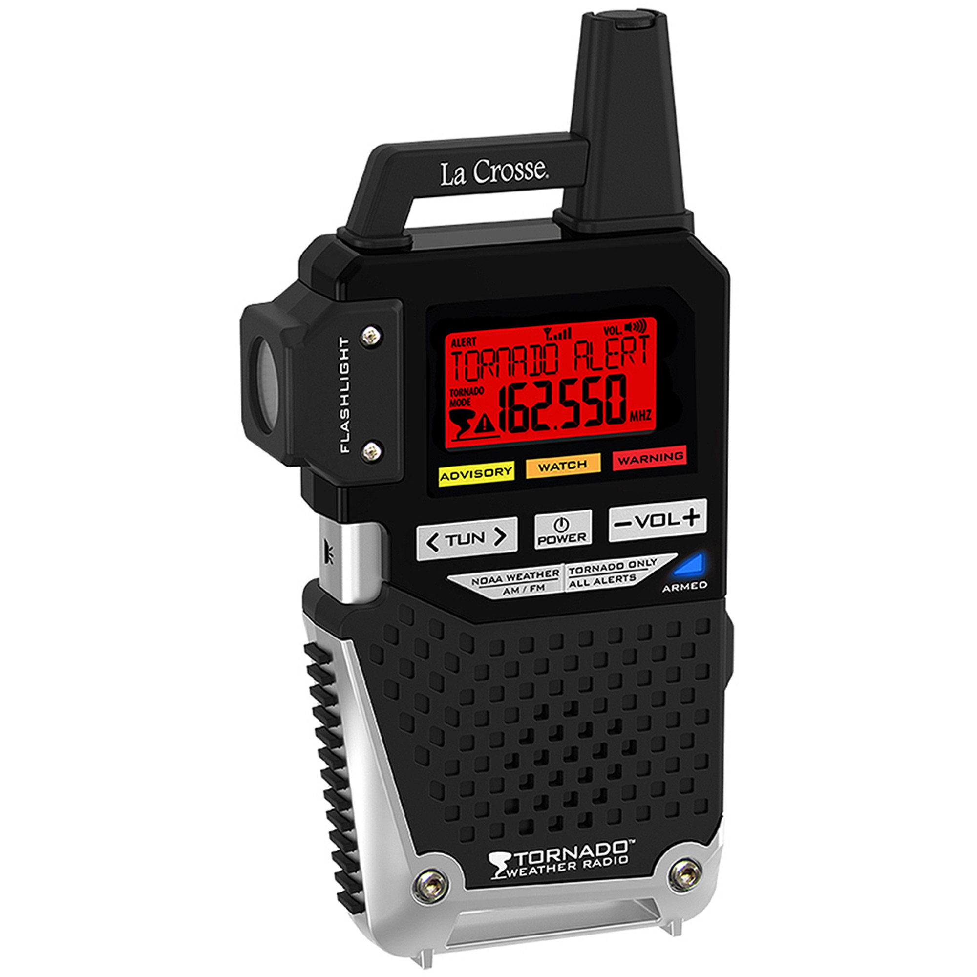 La Crosse NOAA/AM/FM Weather Alert Radio with One-Button Alert for Tornado Only