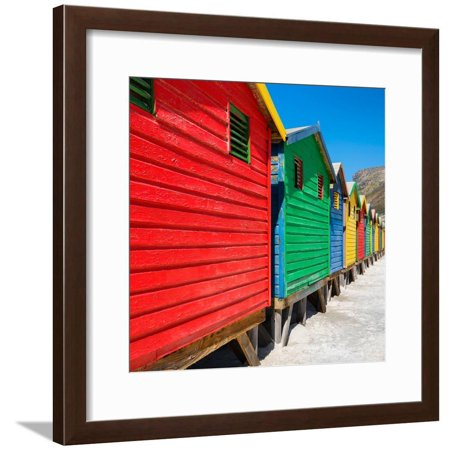 Awesome South Africa Collection Square - Colorful Beach Huts on Muizenberg II Framed Print Wall Art By Philippe (Hut On The Beach)