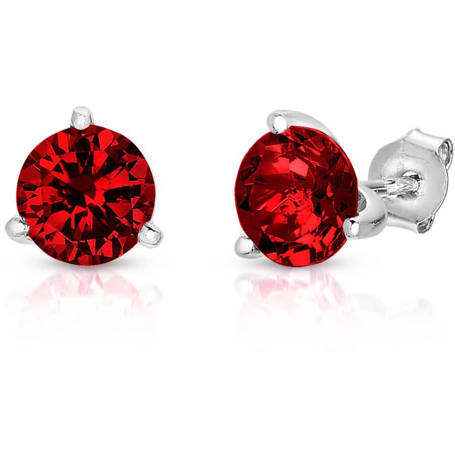 Created Ruby Sterling Silver Martini Stud Earrings