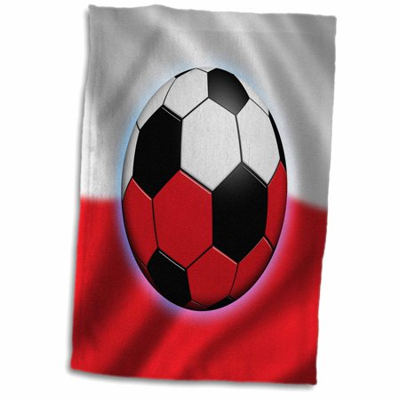 15 Flag Soccer Lamp - 3dRose Poland soccer ball concept Polish flag banner waving national country - Towel, 15 by 22-inch