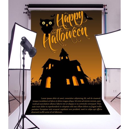 HelloDecor Polyster Backdrop 5x7ft Photography Background Happy Halloween Cute Owl Haunted House Children Kids Adults Background Backdrop for Video Photo Studio Props - Cute Happy Halloween Background