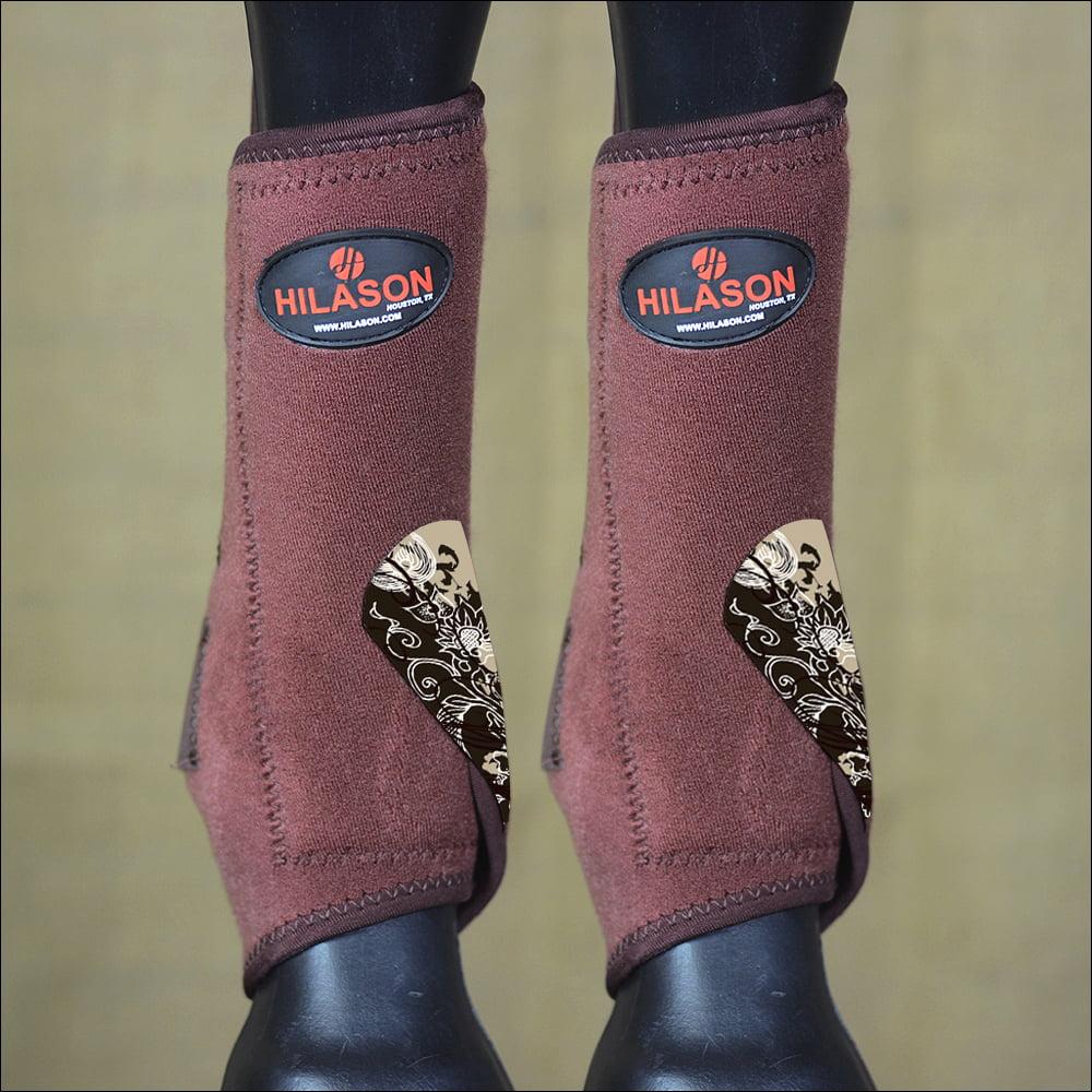 LARGE HILASON BROWN DAKOTA HORSE FRONT LEG PROTECTION ULTIMATE  SPORTS BOOT PAIR