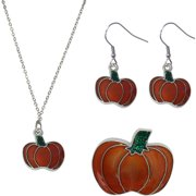 Pumpkin Necklace, Earrings and Pin Jewelry Set